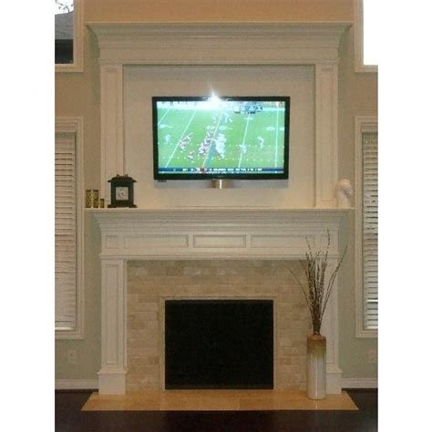 fireplace with marble tile tv above family room