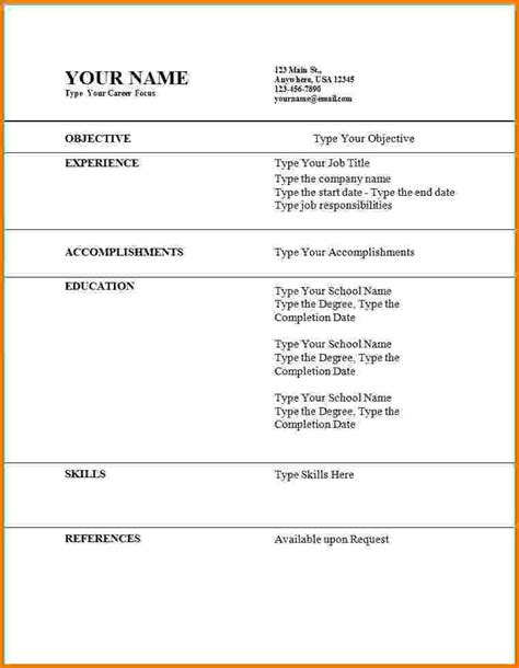 Template For Time Resume by 11 Time Resume Exles Financial Statement Form
