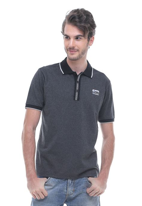 Baju Fashion Putih List Abu Logo 702193 slim fit kaos polo garis tepi putih abu