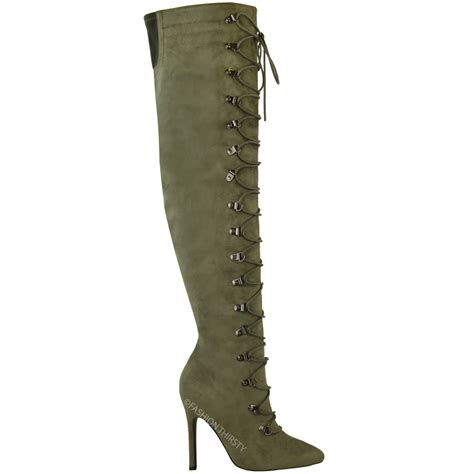 knee high lace up boots with heel womens thigh high the knee stiletto heel boots