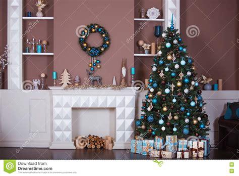 christmas background interior room decorated  xmas