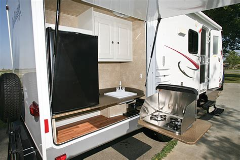 small travel trailer with outdoor kitchen small cer w outdoor kitchen adventure rider