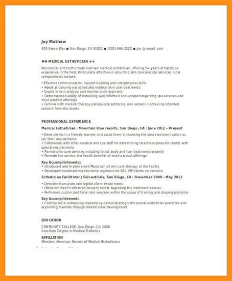 entry level esthetician resume memo exle