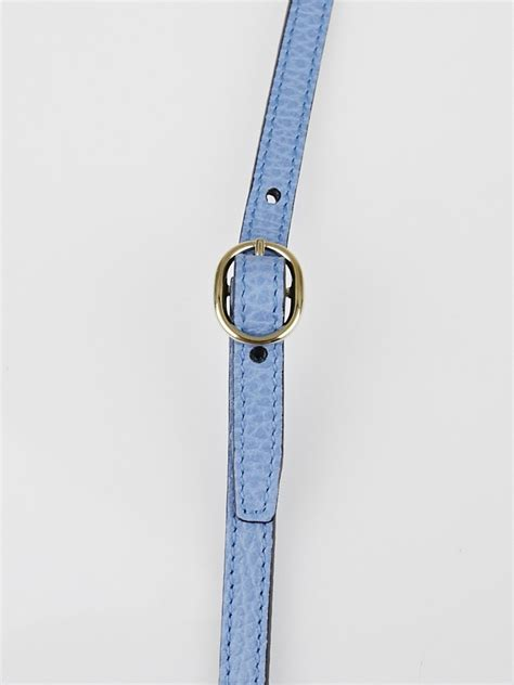 strap swing gucci mineral blue pebbled leather swing strap wallet