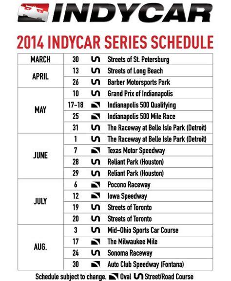 Calendario F Indy 2014 Indycar Series Schedule Motorsport