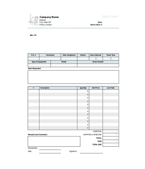 work order template 23 free word excel pdf document