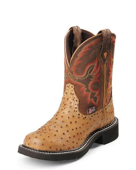 justin s cognac ostrich print boot justin boots
