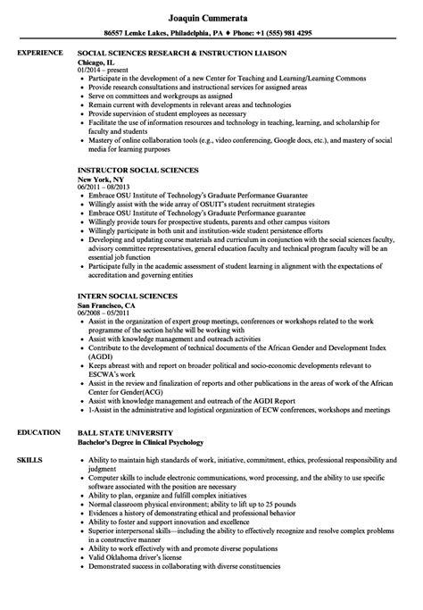 social science resume format social sciences resume sles velvet