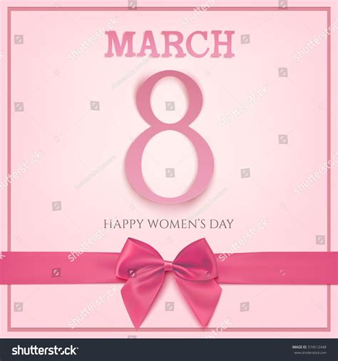 s march post card template 8 march greeting card template pink stock illustration