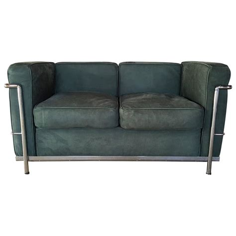 corbusier loveseat le corbusier two seat sofa loveseat green suede and