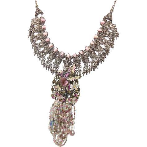 Rhinestone Necklace pink bird rhinestone bib necklace ooak large big