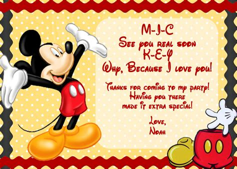 mickey mouse free printable invitation templates