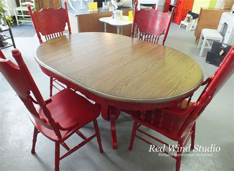 red dining room set hometalk repainted dining room set in bold red