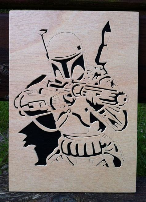 Wooden Notebook Starwars boba fett wooden picture scroll saw wars by