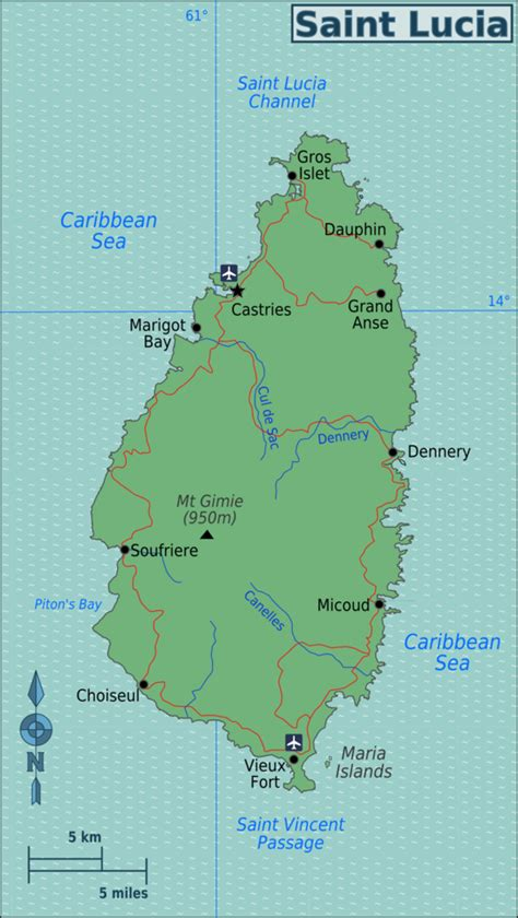 map of st and st lucia wikitravel
