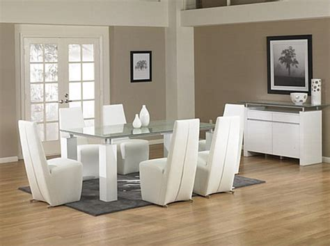 White Dining Room Table Modern Modern Glass Dining Table With White Legs Decoist