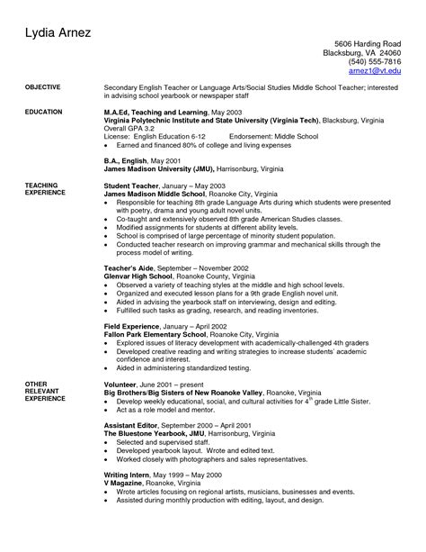 resume sles for teachers resume exles sle secondary