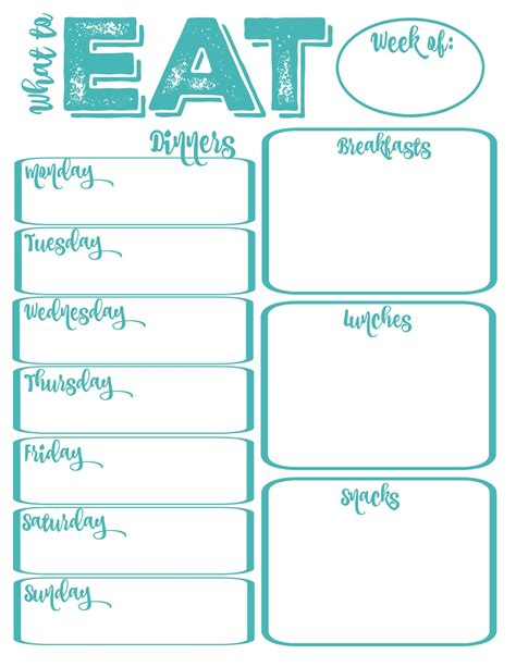 printable dinner planner pantry makeover free printable weekly meal planner and