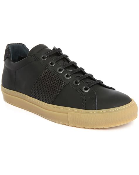 black sole sneakers national standard edition 4 black leather rubber gum sole