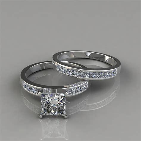 princess cut engagement ring and wedding band bridal set