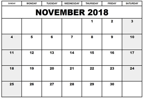 printable calendar pages november 2018 printable calendar templates invoice