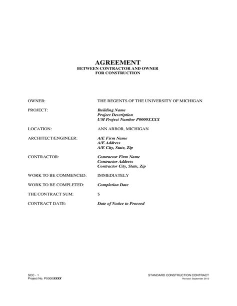 agreement between owner and contractor template agreement between contractor and owner free