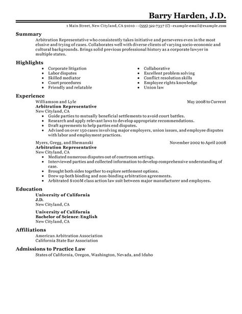 Arbitration Briefformat Best Arbitration Representative Resume Exle Livecareer