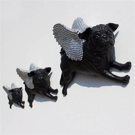pug wallpaper for walls diamante winged flying pug wall by pugs might fly notonthehighstreet