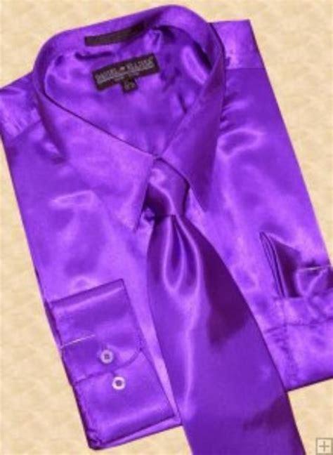satin purple dress shirt tie hanky set