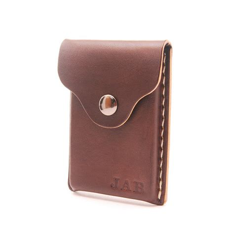 Handmade Leather Card Holder - personalized handmade leather business card holder by echosix