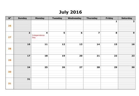 Calendar For July 2016 July 2016 Blank Weekly Templates Printable Calendar