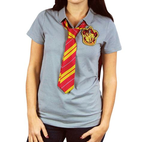 womens harry potter gryffindor cape polo shirt with tie