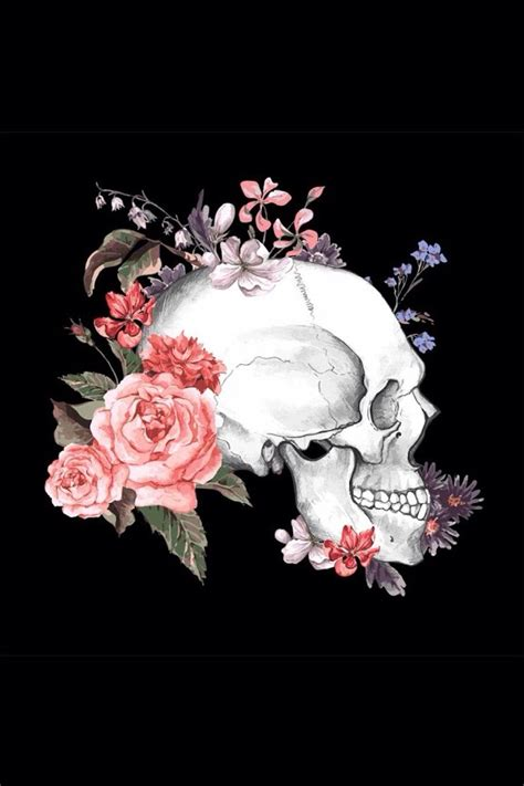 wallpaper skull flower skull flowers skeleton skull bones pinterest