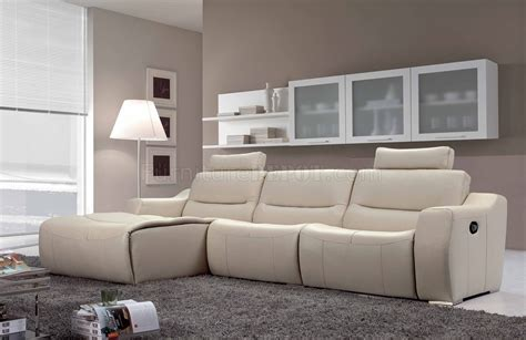 Contemporary Recliner Sofa White Leather 2143 Modern Reclining Sectional Sofa By Esf
