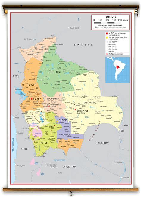 bolivia political map bolivia political educational wall map from academia maps