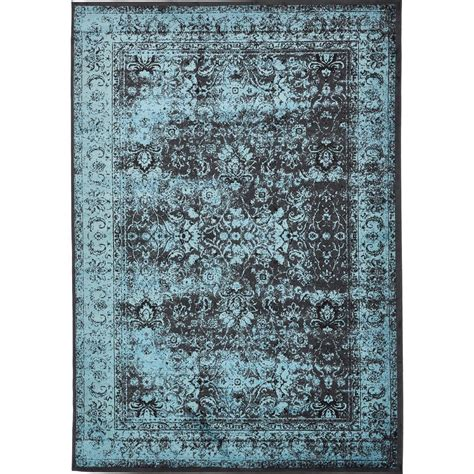 Blue And Black Area Rugs Unique Loom Istanbul Blue And Black 8 Ft X 11 Ft 6 In Area Rug 3134645 The Home Depot