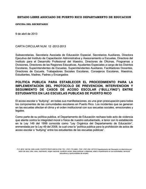 carta de buena conducta pr carta circular 12 2012 2013 by instituto del g 233 nero y