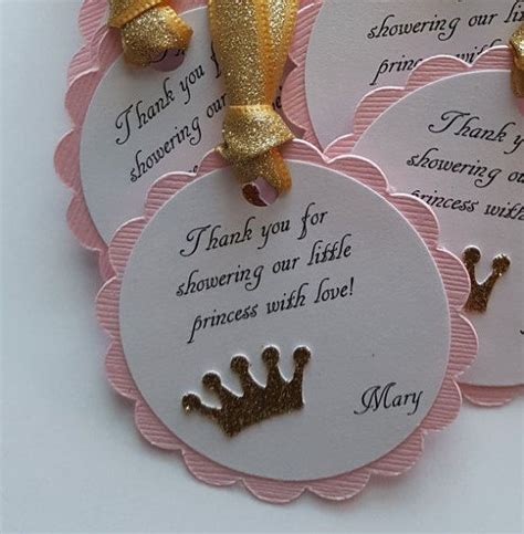Thank You Favors Baby Shower by Pink And Gold Glitter Baby Shower Favor Tags Princess