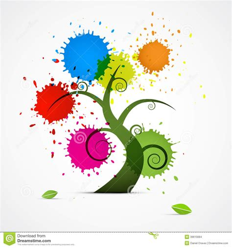 vector pattern with colorful blobs abstract vector tree with colorful blobs splashes stock