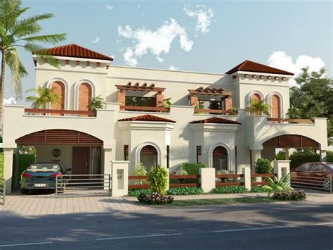 View Of Houses by Park View Villas 3d Front View 10 Marla 4 Beds House