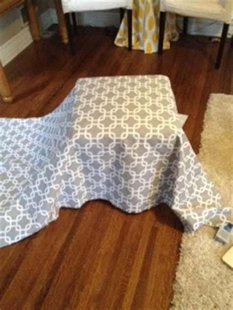 how to cover an ottoman with fabric no sew freakomomics no sew ottoman slip covers