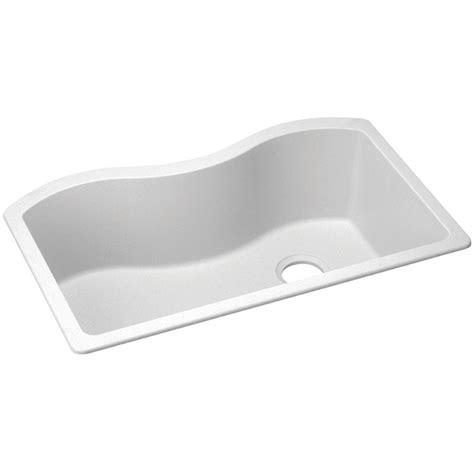 White Undermount Kitchen Sinks Single Bowl Shop Elkay Harmony 20 In X 33 In White Granite Single Basin Granite Undermount Residential