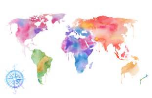 Watercolor World Map by Watercolor World Map Art Print Magenta Pink Amp Purple Painting