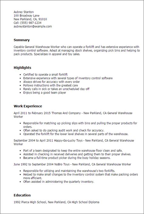 Resume Summary Exles For Warehouse Worker Professional General Warehouse Worker Templates To Showcase Your Talent Myperfectresume
