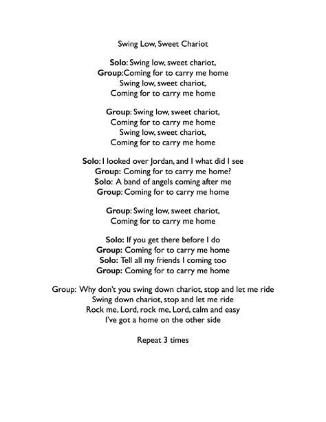 swing down chariot lyrics gospeltutorial