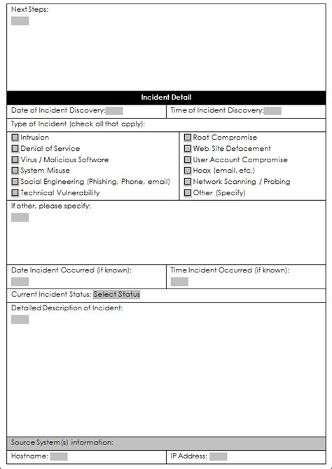 credit card incident response plan template a sle incident response form enterprise security a