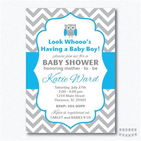 printable owl boy baby shower invitations printable chevron owl baby shower boy invitation
