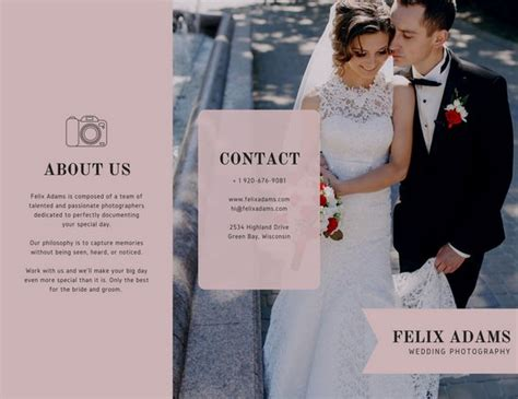 Wedding Dress Brochure by Pale Pink Wedding Photography Trifold Brochure Templates