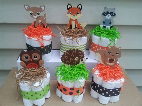 Woodland Baby Shower Theme by 6 Woodland Theme Mini Cakes Baby Shower Centerpiece