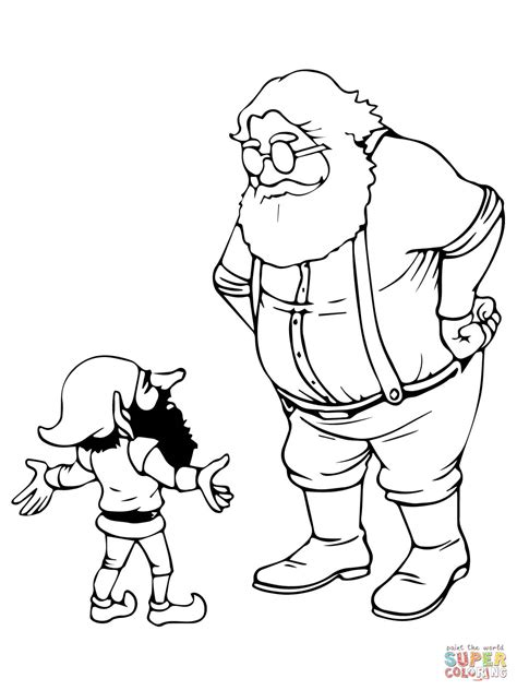 coloring pages elves santa santa and christmas elf coloring online super coloring